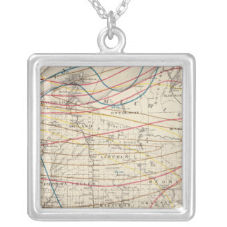 Climatological map of Wisconsin Square Pendant Necklace