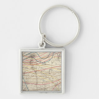 Climatological map of Wisconsin Silver-Colored Square Key Ring