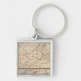 Climatology of Michigan Atlas Mao Silver-Colored Square Key Ring