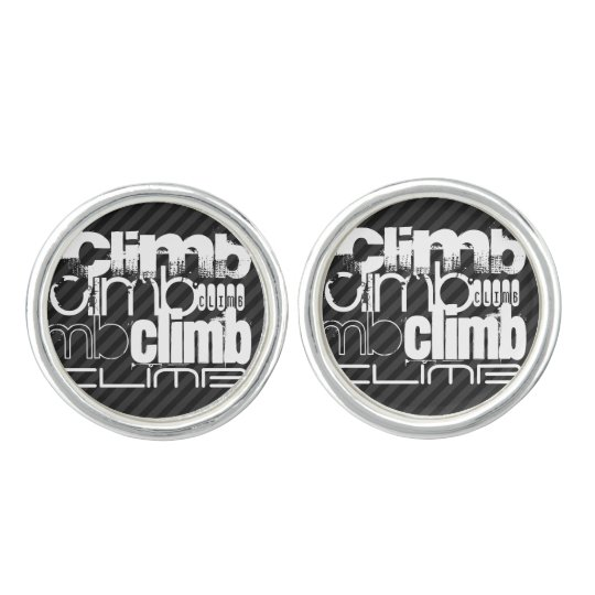 Climb; Black & Dark Grey Stripes Cufflinks