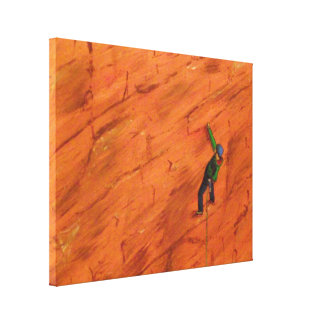 Climber on Red Rock Canvas Print