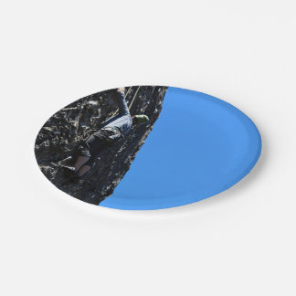 Climber scales face of mountain 7 inch paper plate