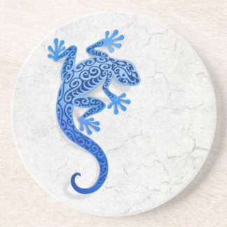 Climbing Blue Gecko on a White Wall Coaster