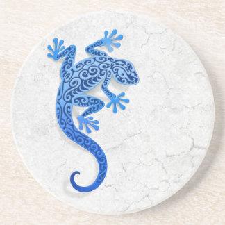 Climbing Blue Gecko on a White Wall Coasters