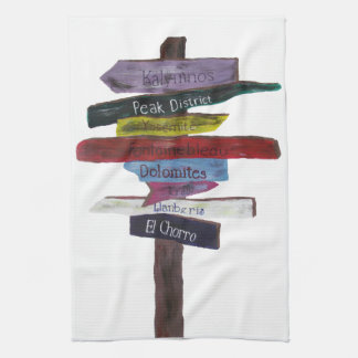 Climbing destinations tea towel