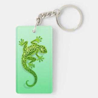 Climbing Green Gecko Key Ring
