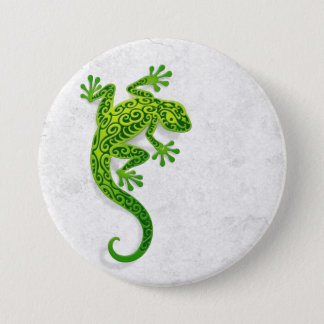 Climbing Green Gecko on a White Wall 7.5 Cm Round Badge