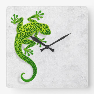 Climbing Green Gecko on a White Wall Square Wall Clock