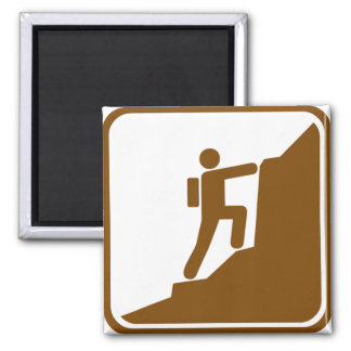 Climbing Highway Sign Square Magnet