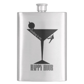 Climbing Is My Happy Hour Hip Flask