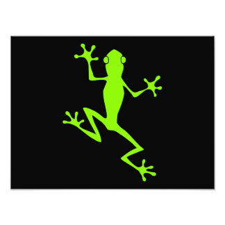 Climbing Lime Green Frog Silhouette Art Photo