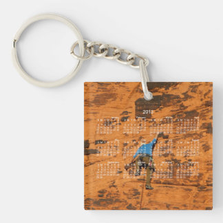Climbing on Red Rocks; 2013 Calendar Single-Sided Square Acrylic Key Ring