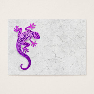 Climbing Purple Gecko on a White Wall