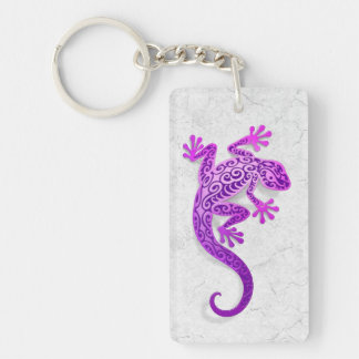 Climbing Purple Gecko on a White Wall Double-Sided Rectangular Acrylic Key Ring