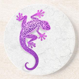 Climbing Purple Gecko on a White Wall Sandstone Coaster