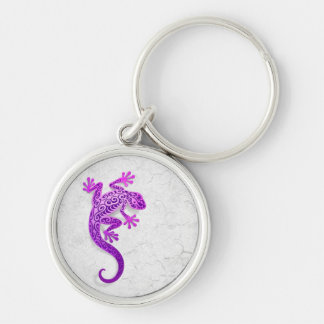 Climbing Purple Gecko on a White Wall Silver-Colored Round Key Ring
