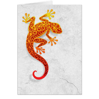 Climbing Red Gecko on a White Wall Card