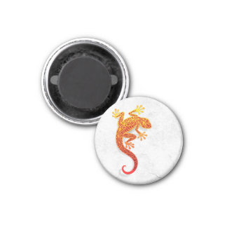 Climbing Red Gecko on a White Wall Magnet