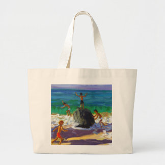 climbing rocks Porthmeor beach St Ives 2013 Large Tote Bag