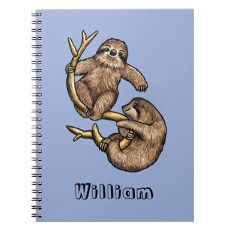 Climbing Sloth Personalized Notebook