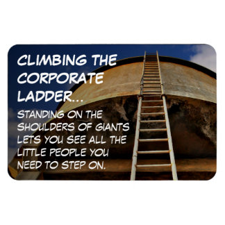 Climbing the corporate ladder gives perspective rectangular photo magnet