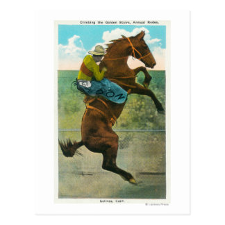 Climbing the Golden Stairs at the Annual Rodeo Post Card