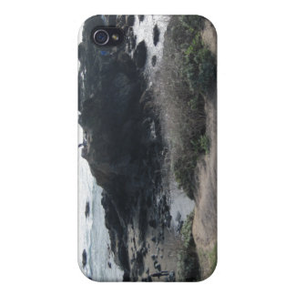 Climbing the Rocks on a Cambria Beach Case For iPhone 4