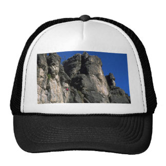 Climbing the vertical, Utah rock formation Mesh Hats