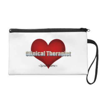 Clinical Therapist chrome font and Red Heart Wristlet Purses