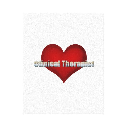Clinical Therapist chrome font and Red Heart Stretched Canvas Print