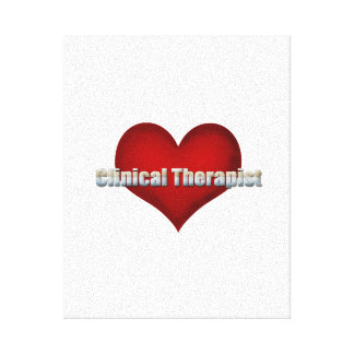 Clinical Therapist chrome font and Red Heart Gallery Wrap Canvas