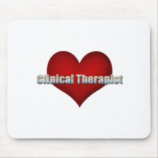 Clinical Therapist chrome font and Red Heart Mouse Pad