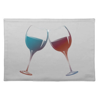 Clinking Sparkle Wine Glasses Art Placemat