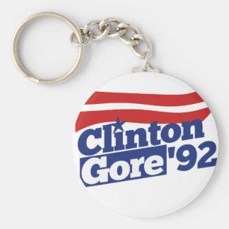 Clinton Gore 92 retro politics Basic Round Button Key Ring