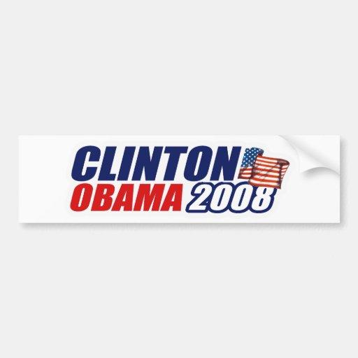 Clinton/Obama 2008 Bumper Sticker