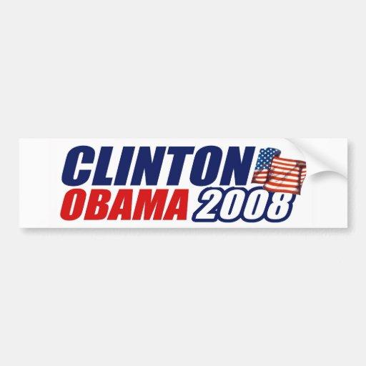 Clinton / Obama 2008 Bumper Sticker