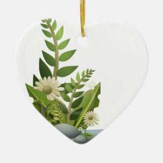 Clipart Plants, Pebbles, and Flowers Ceramic Heart Decoration
