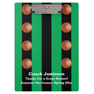 Clipboard Black and Green Stripe, Basketball Coach