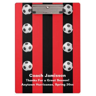 Clipboard, Black and Red Stripe, Soccer Coach Clipboard