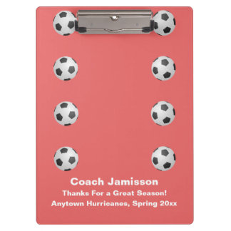 Clipboard, Coral Pink, Soccer Coach Clipboards