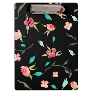 Clipboard Watercolor Flower Fields, Black