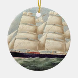 Clipper Barque 'Clendovey' (oil on canvas) Round Ceramic Decoration