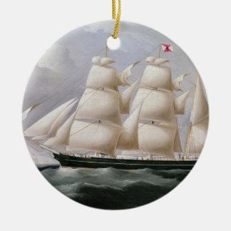 Clipper Barque 'Procymatia' off Dover (oil on canv Round Ceramic Decoration
