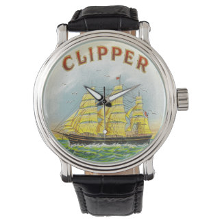 Clipper Sailing Ship Vintage Cigar Box Label Watches