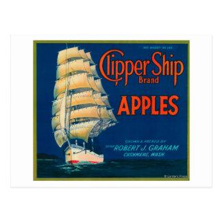 Clipper Ship Apple Label (green) - Cashmere, WA Postcards