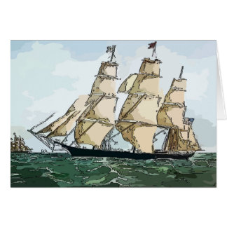 Clipper Ship, at sea Greeting Card