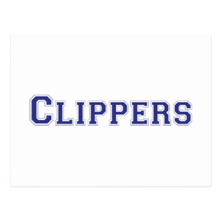 Clippers square logo in blue post card