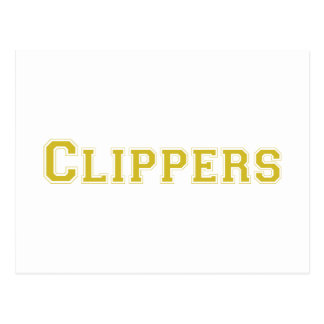 Clippers square logo in gold post card