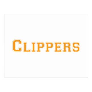 Clippers square logo in orange postcards