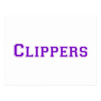 Clippers square logo in purple postcard